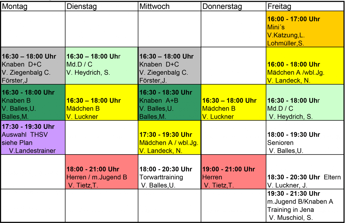 Trainingsplan Feldsaison 2016