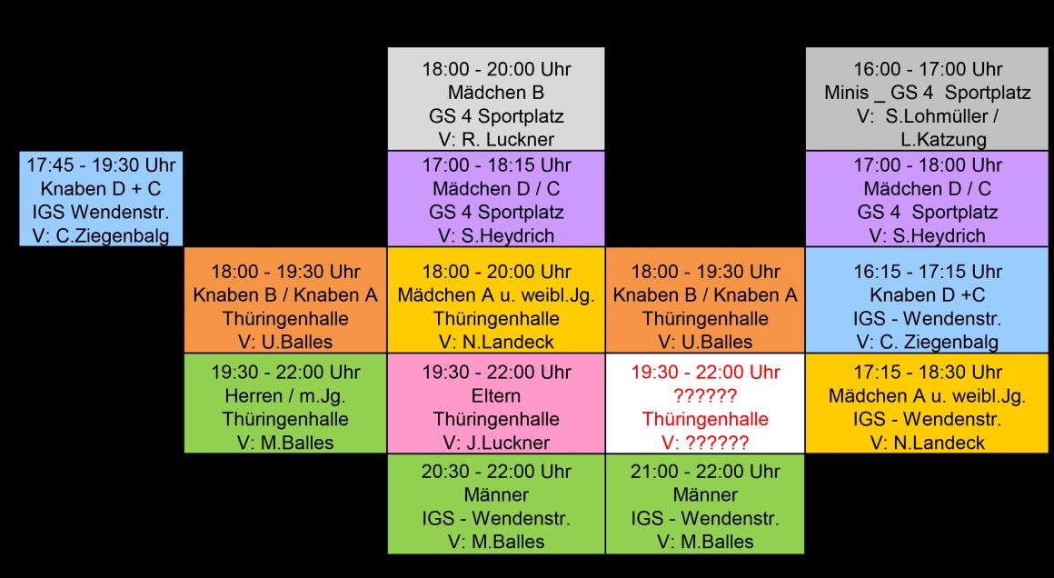 Trainingsplan Halle 2016/2017
