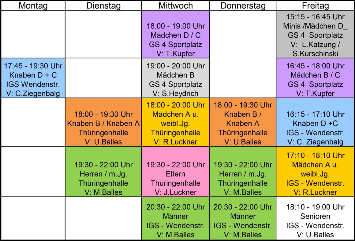 Trainingsplan Hallensaison 2018/2019