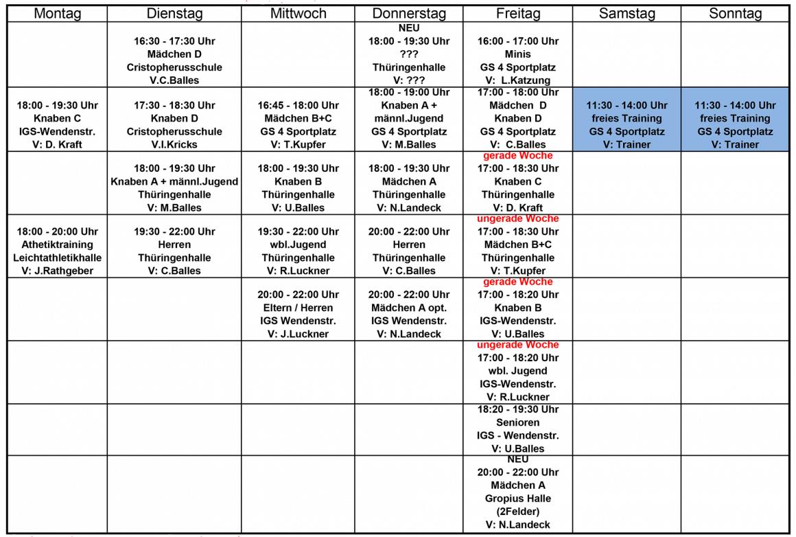 Trainingsplan Hallensaison 2020/2021